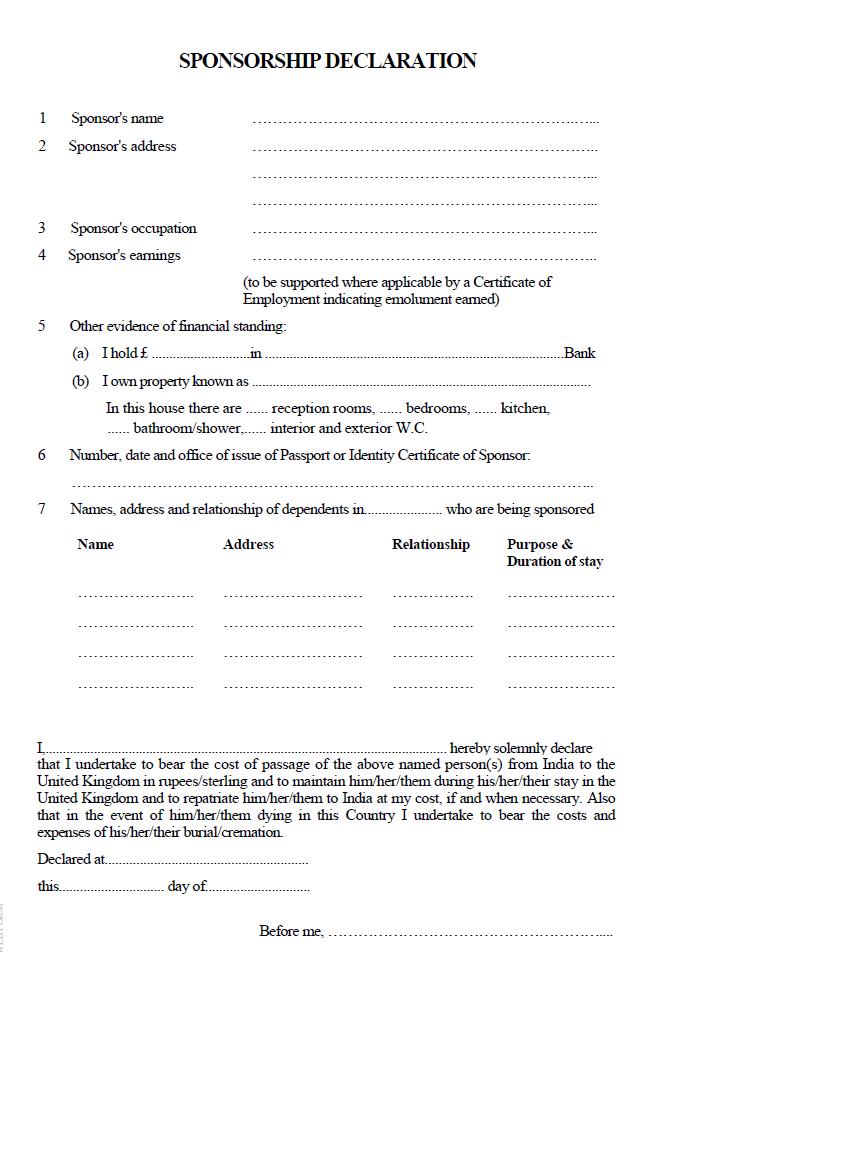 Sponsorship Declaration Letter Sample Uk